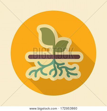 Plant with roots flat vector icon outline isolated garden eps 10