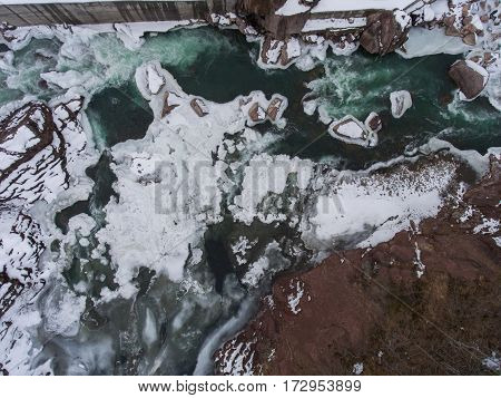 Top View Of Frozen Azure River.