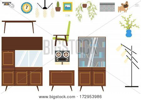 Set of isolated home interior objects in the style of the 70's.