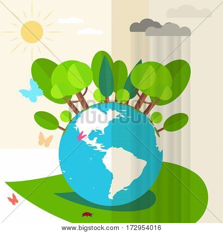 Illustration of globe, butterflies, forest, rain clouds, sun and ladybug.