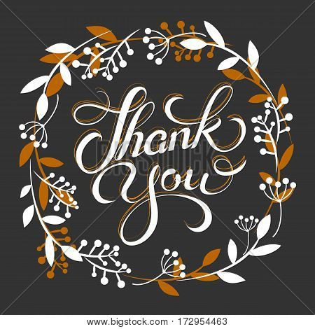 Thank you golden lettering card with wreath Vector illustration.