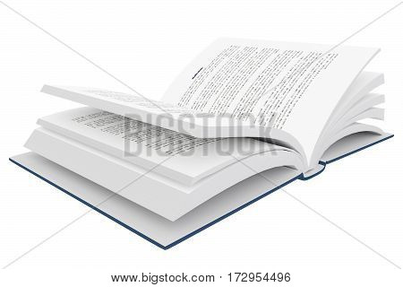 3D Rendering Of An Open Book On White Background