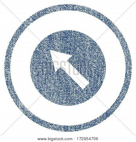 Up-Left Rounded Arrow vector textured icon for overlay watermark stamps. Blue jeans fabric vectorized texture. Symbol with scratched design. Blue ink rubber seal stamp with fiber textile structure.