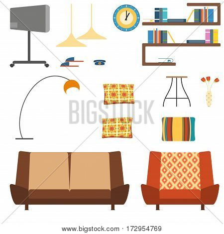 Set of isolated home interior objects in the style of the 70s.