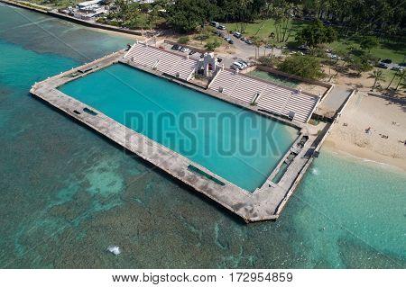 Aerial image of the Waikiki Natatorium War Memorial