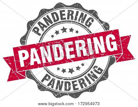 pandering. stamp. sign. seal. round. retro. ribbon
