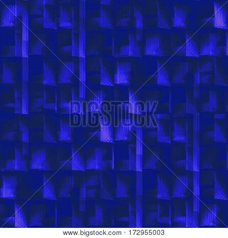 Abstract geometric seamless background. Regular dark pattern with purple and dark blue elements on black, dimensional and blurred.