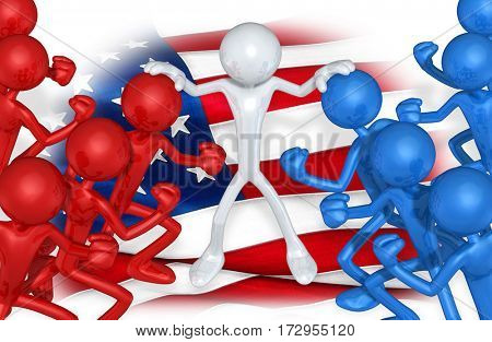 The Original 3D Character Illustration Holding Two Groups Apart With A Flag Behind