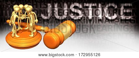 Class Action Justice Law Legal Gavel Concept With The Original 3D Characters Illustration