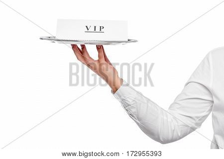 VIP customer service in a restaurant the announcement on the tray waiter