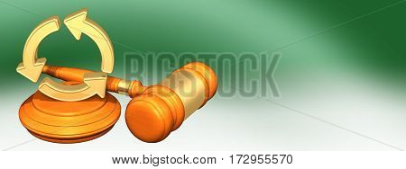Recycle Symbol Legal Gavel Concept 3D Illustration