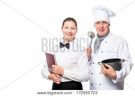 Successful Chef And Waitress In Uniform On A White Background
