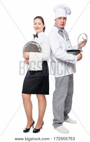 Team Waiter And Chef Portrait On White Background