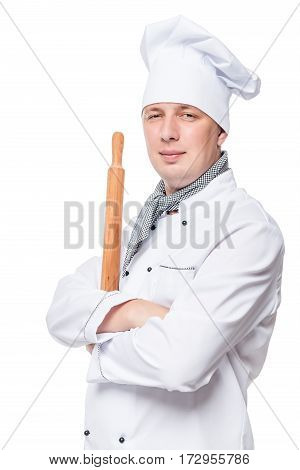 Chef With A Wooden Rolling Pin On A White Background