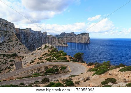 Cap De Formentor Cliff Coast, Mediterranean Sea And Narrow Curvy Road, Majorca, Spain