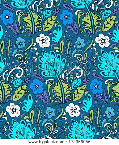 Colorful vector seamless floral pattern. Summer endless background with flowers