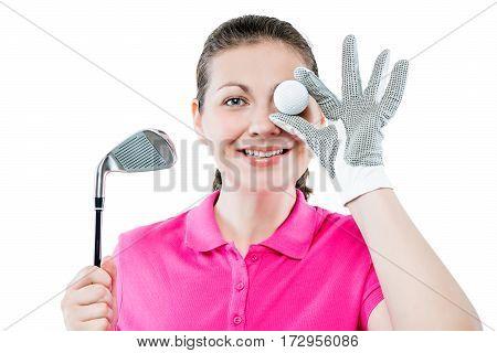 Happy Golfer Funny Portrait On White Background