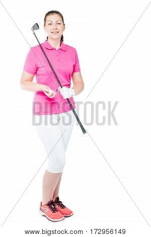 30-year-old Golfer With A Golf Club In Full Length On White Background