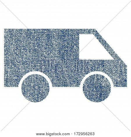 Van vector textured icon for overlay watermark stamps. Blue jeans fabric vectorized texture. Symbol with dirty design. Blue ink rubber seal stamp with fiber textile structure.