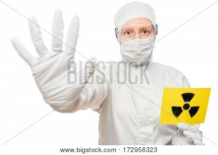 Chemist People Holding A Sign Isolated In Radiation Suit