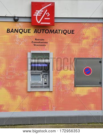 Le Mesnil Esnard France - june 22 2016 : cashpoint of the savings bank