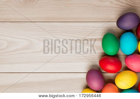 A Wooden Background For An Inscription And A Bunch Of Easter Eggs In The Corner
