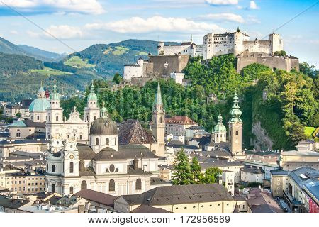 Beautiful View Of The Historic City Of Salzburg With Festung Hohensalzburg In Summer, Salzburger Lan