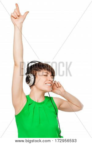 Cheerful Woman Dj With Headphones On A White Background