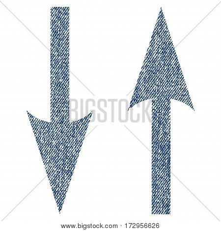 Vertical Exchange Arrows vector textured icon for overlay watermark stamps. Blue jeans fabric vectorized texture. Symbol with dirty design. Blue ink rubber seal stamp with fiber textile structure.
