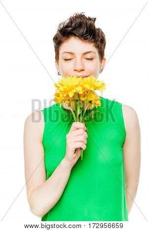 Beautiful Brunette With A Bouquet Of Chrysanthemums On A White Background