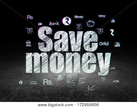 Money concept: Glowing text Save Money,  Hand Drawn Finance Icons in grunge dark room with Dirty Floor, black background