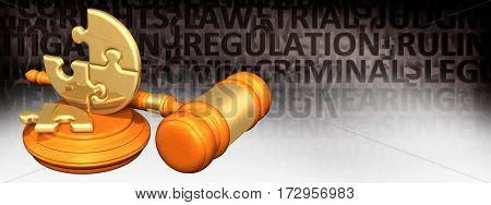 Puzzle Legal Gavel Concept 3D Illustration