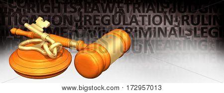 Tied Key Legal Gavel Concept 3D Illustration
