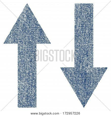Vertical Flip Arrows vector textured icon for overlay watermark stamps. Blue jeans fabric vectorized texture. Symbol with unclean design. Blue ink rubber seal stamp with fiber textile structure.