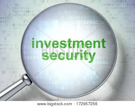 Privacy concept: magnifying optical glass with words Investment Security on digital background, 3D rendering