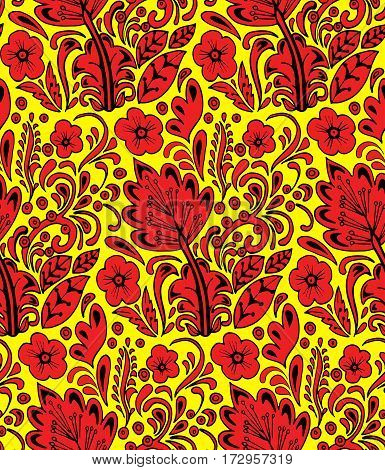 Traditional Russian vector seamless pattern in khokhloma style