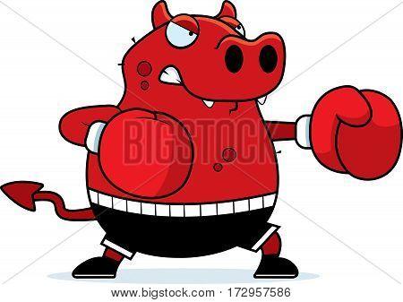 Cartoon Devil Boxing