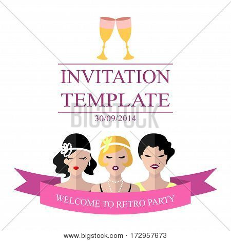 Vector invitation template to the retro party with flapper girls in flat style