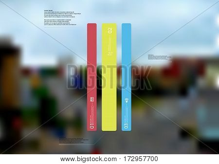 Illustration infographic template with motif of bar vertically divided to three long color standalone sections. Blurred photo with crossroad motif of streets in a town is used as background.