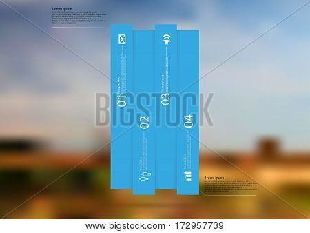 Illustration infographic template with motif of bar vertically divided to four long blue sections. Blurred photo with natural motif of landscape with cloudy sky is used as background.
