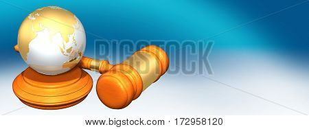 Globe Legal Gavel Concept 3D Illustration
