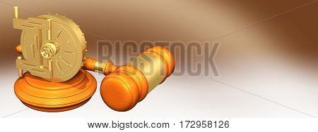 Vault Legal Gavel Concept 3D Illustration