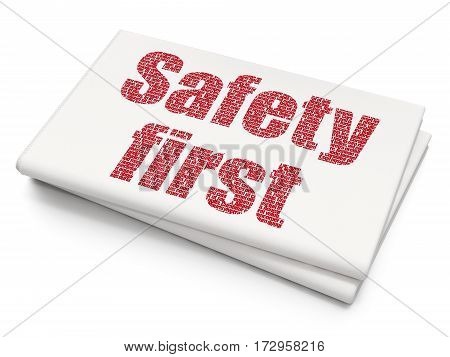 Safety concept: Pixelated red text Safety First on Blank Newspaper background, 3D rendering