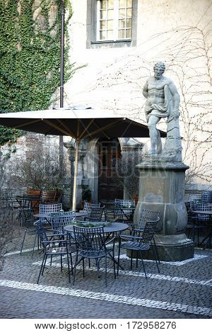 FRANKFURT, GERMANY - JANUARY 05: The café in the courtyard of the Liebieg house, a sculpture collection on January 05, 2017 in Frankfurt.