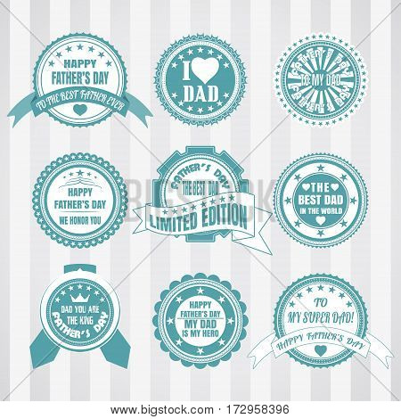 Vintage turquoise and white labels vector set for father's day. Retro turquoise and white stamps vector set for happy father's day. Vector set of labels for father's day.