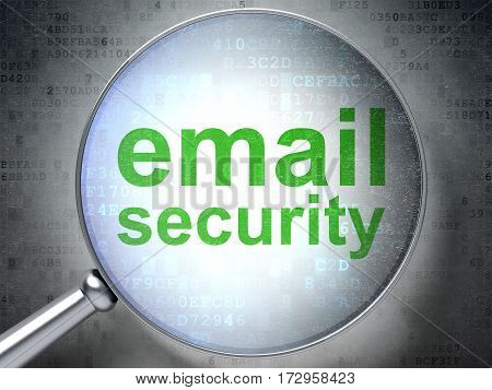 Security concept: magnifying optical glass with words Email Security on digital background, 3D rendering