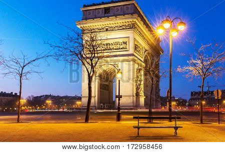 The Triumphal Arch in evening Paris France