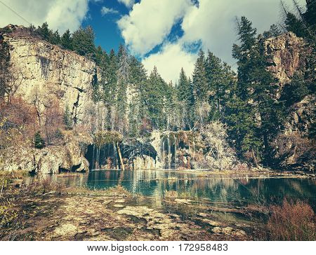 Retro Toned Picture Of Hanging Lake, Colorado, Usa.