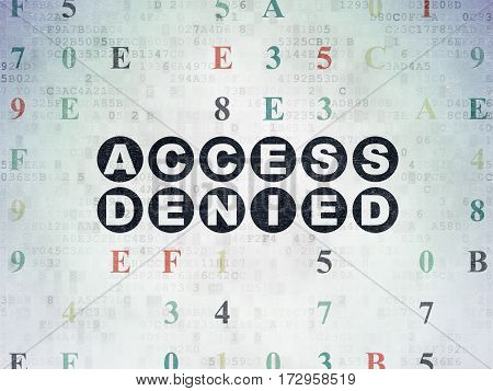 Security concept: Painted black text Access Denied on Digital Data Paper background with Hexadecimal Code