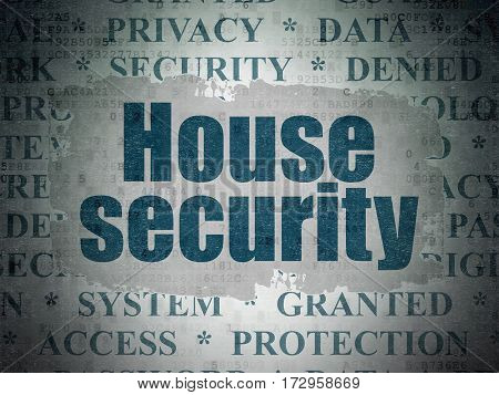 Security concept: Painted blue text House Security on Digital Data Paper background with   Tag Cloud